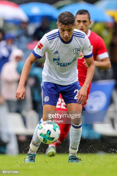 Amine Harit of Schalke controls the ball during the preseason friendly match between FC Schalke 04 and Neftchi Baku on July 26 2017 in Neunkirchen...