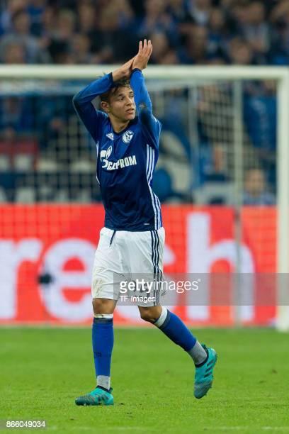 Amine Harit of Schalke gestures during the Bundesliga match between FC Schalke 04 and 1 FSV Mainz 05 at VeltinsArena on October 20 2017 in...