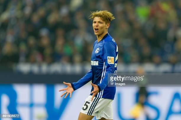 Amine Harit of Schalke gestures during the Bundesliga match between FC Schalke 04 and FC Augsburg at VeltinsArena on December 13 2017 in...