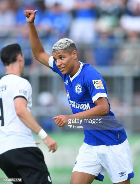 Amine Harit of Schalke gestures during the Friendly match between Schwarz Weiss Essen and FC Schalke 04 on July 21 2018 in Essen Germany