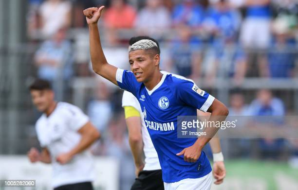 Amine Harit of Schalke gestures during the Friendly match between Schwarz Weiss Essen and FC Schalke 04 on July 21 2018 in Essen Germany