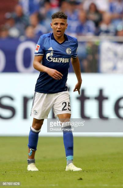 Amine Harit of Schalke got knocked during the Bundesliga match between FC Schalke 04 and Eintracht Frankfurt at VeltinsArena on May 12 2018 in...