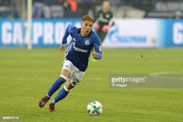 Amine Harit of Schalke in action during the Bundesliga match between FC Schalke 04 and 1 FC Koeln Bundesliga at VeltinsArena on December 2 2017 in...