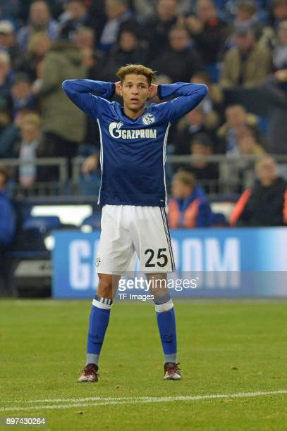 Amine Harit of Schalke looks dejected during the Bundesliga match between FC Schalke 04 and FC Augsburg at VeltinsArena on December 13 2017 in...