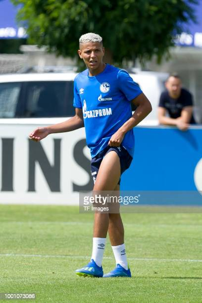 Amine Harit of Schalke looks on during a training session at the FC Schalke 04 Training center on July 18 2018 in Gelsenkirchen Germany
