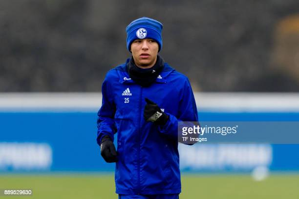 Amine Harit of Schalke looks on during a training session at the FC Schalke 04 Training center on December 05 2017 in Gelsenkirchen Germany