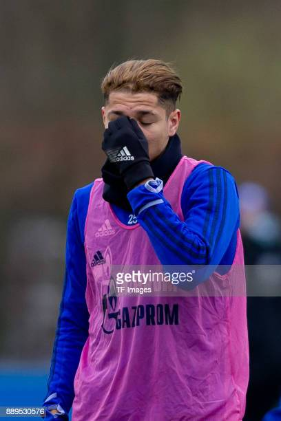Amine Harit of Schalke looks on during a training session at the FC Schalke 04 Training center on December 06 2017 in Gelsenkirchen Germany