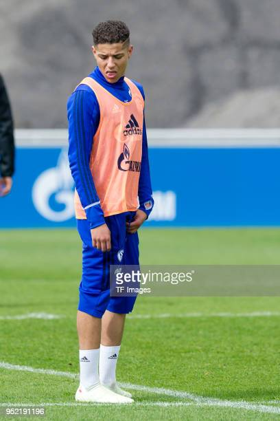 Amine Harit of Schalke looks on during a training session at the FC Schalke 04 Training center on April 25 2018 in Gelsenkirchen Germany
