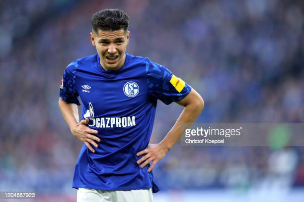 Amine Harit of Schalke looks on during the Bundesliga match between FC Schalke 04 and SC Paderborn 07 at Veltins-Arena on February 08, 2020 in...