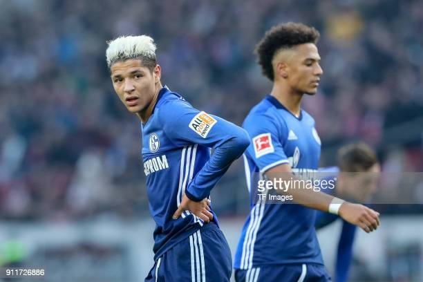 Amine Harit of Schalke looks on during the Bundesliga match between VfB Stuttgart and FC Schalke 04 at MercedesBenz Arena on January 27 2018 in...