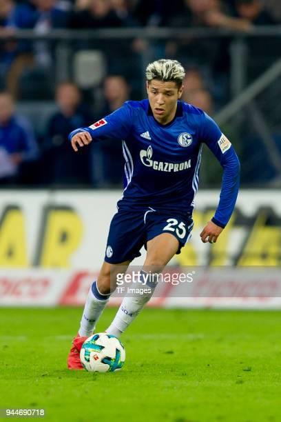 Amine Harit of Schalke looks on during the Bundesliga match between Hamburger SV and FC Schalke 04 at Volksparkstadion on April 7 2018 in Hamburg...