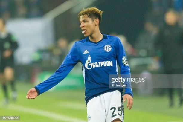 Amine Harit of Schalke looks on during the DFB Cup match between FC Schalke 04 and 1 FC Koeln at VeltinsArena on December 19 2017 in Gelsenkirchen...