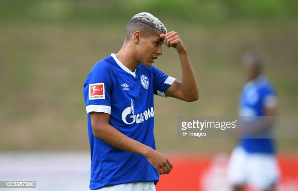 Amine Harit of Schalke looks on during the Friendly match between Schwarz Weiss Essen and FC Schalke 04 on July 21 2018 in Essen Germany