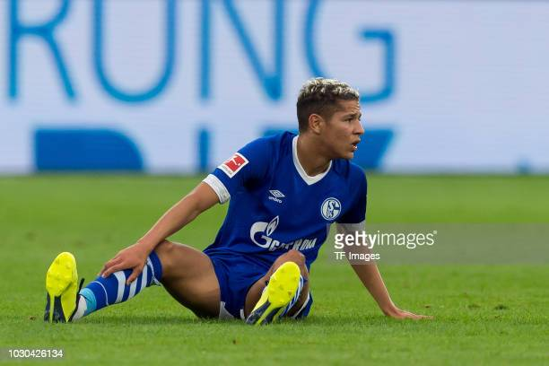 Amine Harit of Schalke on the ground during the Bundesliga match between FC Schalke 04 and Hertha BSC at VeltinsArena on September 2 2018 in...