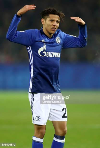 Amine Harit of Schalke reacts during the Bundesliga match between Borussia Dortmund and FC Schalke 04 at Signal Iduna Park on November 25 2017 in...