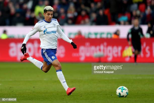 Amine Harit of Schalke runs with the ball during the Bundesliga match between Bayer 04 Leverkusen and FC Schalke 04 at BayArena on February 25 2018...