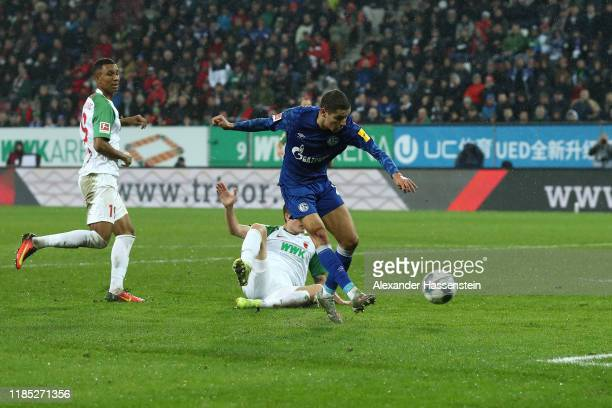 Amine Harit of Schalke scores the 3rd team goal during the Bundesliga match between FC Augsburg and FC Schalke 04 at WWK-Arena on November 03, 2019...