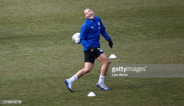 Amine Harit smiles during a training session at FC Schalke 04 training ground on April 02, 2020 in Gelsenkirchen, Germany. Due to COVID-19, training...