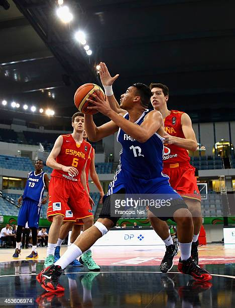 Amine Noua of France in action during the FIBA U17 World Championships QuarterFinal match between France and Spain at the Hamdan Sports Complex on...
