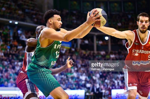 Amine Noua of Lyon Villeurbanne and Jeremy Leloup of Strasbourg during the Pro A PlayOff match between Lyon Villeurbanne and Strasbourg on June 6...