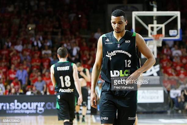 Amine Noua of Lyon Villeurbanne looks dejected during the Pro A Final between Strasbourg and ASVEL at Rhenus Sport on June 6 2016 in Strasbourg France
