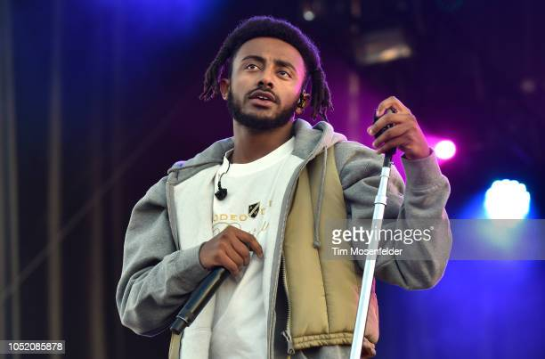 Amine performs during the 2018 Treasure Island Music festival at Middle Harbor Shoreline Park on October 13 2018 in Oakland California