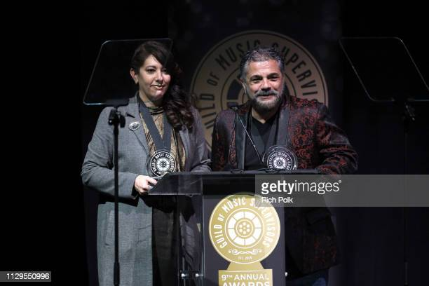 Amine Ramer and Evyen Klean winners of Best Music Supervision Docuseries or Reality Television speak onstage during the 9th Annual Guild of Music...