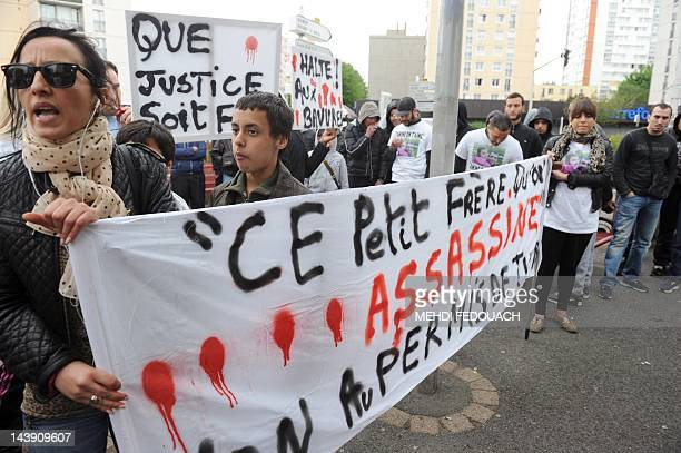 Amine's sister Amal Bentounsi takes part in a white protest march on May 5 2012 in NoisyleSec in the memory of Amine Bentounsi who was shot dead by a...