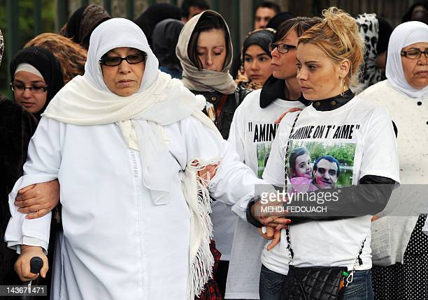 Amine's wife and Amine's mother arrive for the funeral ceremony of Amine Bentounsi who was shot dead by a policeman on April 28 in the NoisyleSec...
