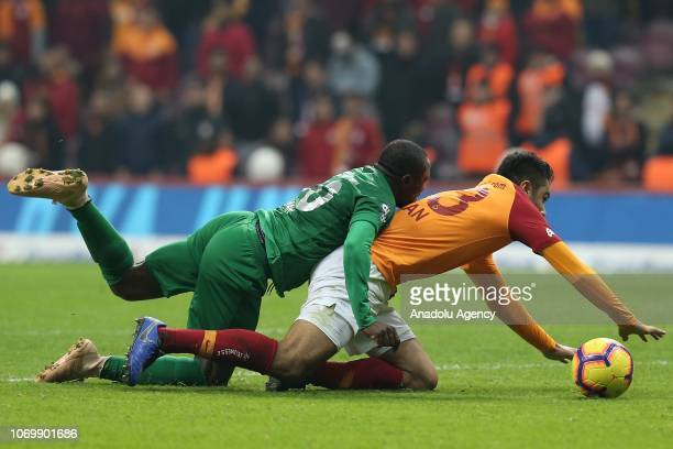 Aminu Umar of Caykur Rizespor in action against Ozan Kabak of Galatasaray during Turkish Super Lig soccer match between Galatasaray and Caykur...