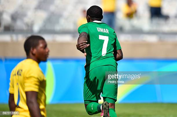 Aminu UMAR of Nigeria celebrates a scored goal against Honduras during a match between Nigeria and Honduras as part of Men`s Football Olympics at...