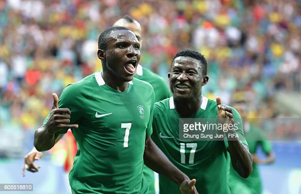 Aminu Umar of Nigeria celebrates after scoring a goal during the Men's Football Quarter Final match between Nigeria and Denmark on Day 8 of the Rio...