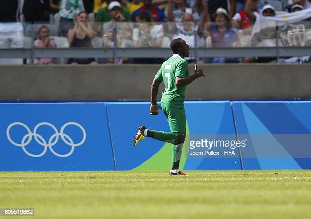 Aminu Umar of Nigeria celebrates after scoring his team's second goal during the Men's Olympic Football Bronze Medal match between Honduras and...