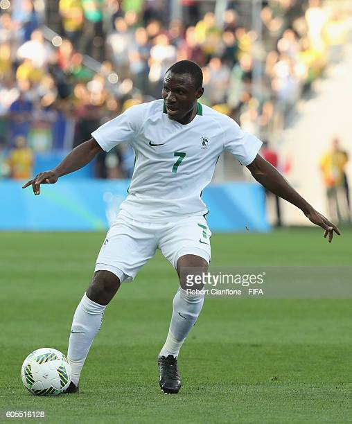 Aminu Umar of Nigeria controls the ball during the Men's Football Semi Final between Nigeria and Germany on Day 12 of the Rio 2016 Olympic Games at...