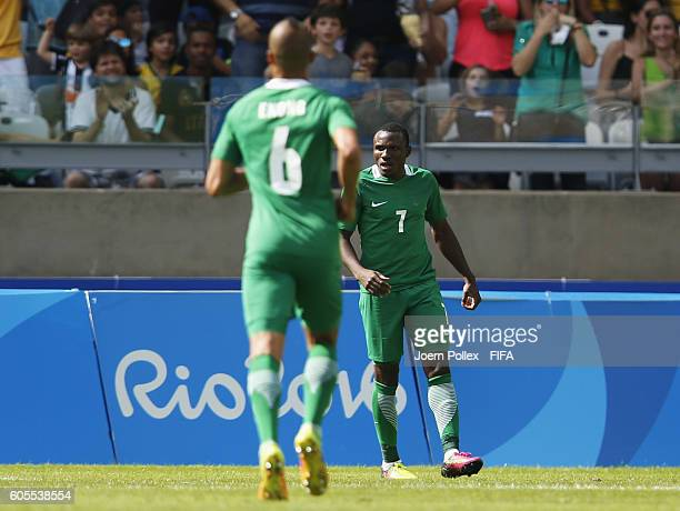 Aminu Umar of Nigeria is seen after scoring his team's second goal during the Men's Olympic Football Bronze Medal match between Honduras and Nigeria...
