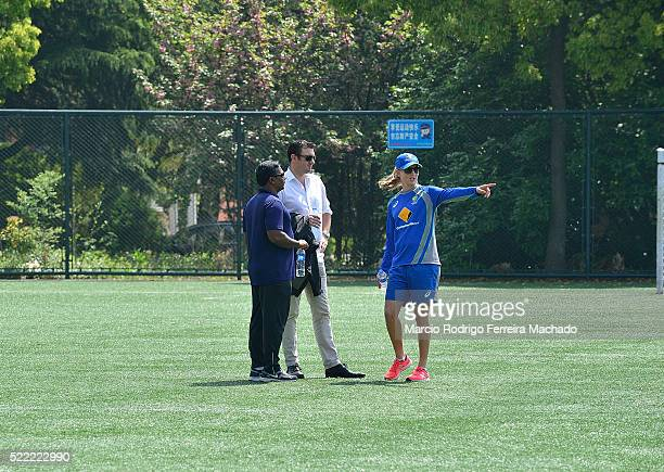 Aminul Islam Development Asia Office Tim Anderson ICC Head of Global Development and Meg Lanning during her visit to Chinese National Team on April...