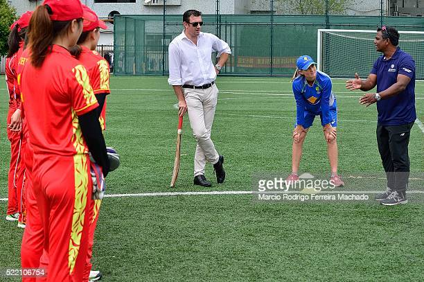 Aminul Islam Development Oficce Asia instructs Chinese Cricketers with Meg Lanning Captain of Australia Cricket Team and Tim Anderson Head of Global...