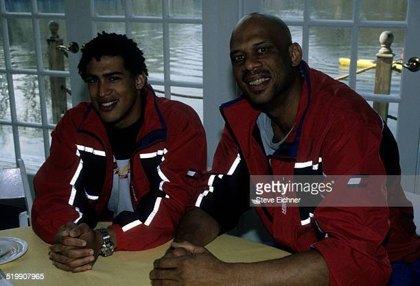 Amir Abdul Jabbar and Kareem Abdul Jabbar at the Tommy Hilfiger athletics launch New York February 11 1998