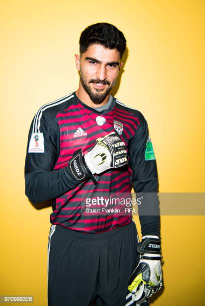 Amir Abedzadeh of Iran poses for a picture during the official FIFA World Cup 2018 portrait session at on June 9 2018 in Moscow Russia