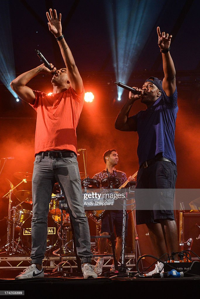 Amir Amor and DJ Locksmith of the band Rudimental perform on stage on Day 4 of Latitude Festival 2013 at Henham Park Estate on July 21, 2013 in Southwold, England.