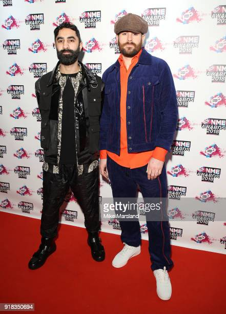 Amir Amor and Piers Agget from Rudimental attend the VO5 NME Awards held at Brixton Academy on February 14 2018 in London England