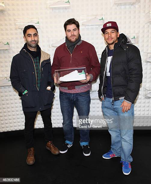 Amir Amor Kesi Dryden and Piers Agget of Rudimental attend the @adidasuk #stansmith popup shop launch event on January 15 2014 in London England