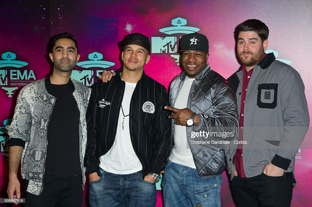 Amir Amor, Piers Agget, DJ Locksmith and Kesi Dryden of Rudimental attend the MTV EMA's 2013 at the Ziggo Dome in Amsterdam, Netherlands.