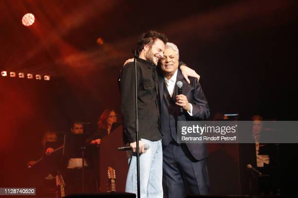 Amir and Enrico Macias perform for Enrico Macias 80th Anniversary at L'Olympia on February 10 2019 in Paris France