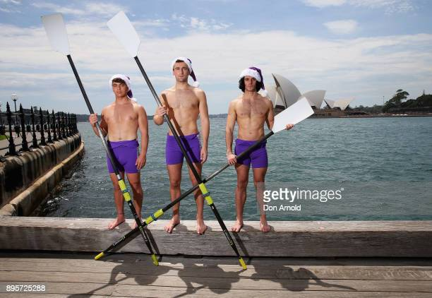 Amir BouchardLucas Etienne and Jorge Roig of the Warwick Rowers pose on December 20 2017 in Sydney Australia The Warwick Rowers are famous around the...