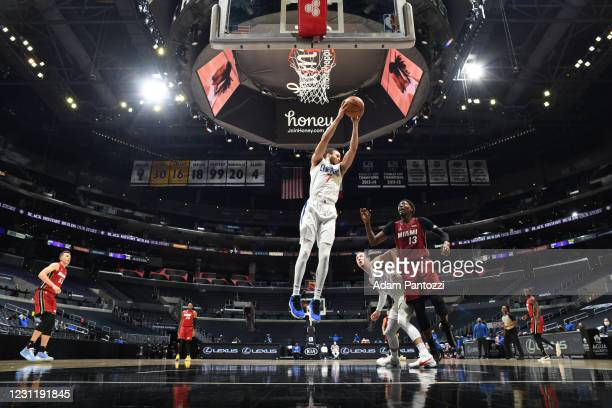 Amir Coffey of the LA Clippers grabs the rebound during the game against the Miami Heat on February 15, 2021 at STAPLES Center in Los Angeles,...