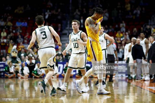 Amir Coffey of the Minnesota Golden Gophers reacts against the Michigan State Spartans during the second half in the second round game of the 2019...