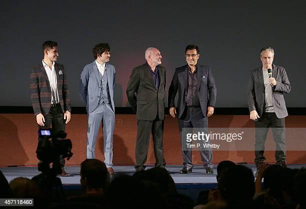 Amir ElMasry Dimitri Leonidas Kim Bodnia Maziar Bahari and Jon Stewart attend the red carpet arrivals of Rosewater during the 58th BFI London Film...