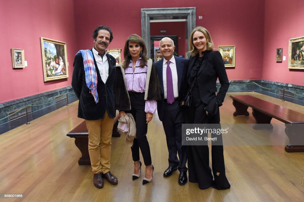 Amir Farman-Farmaian, Marianna Stafilopati, Hashem Khosrovani and Kate Khosrovani attends 'Unexpected View' co-hosted by the National Gallery and Galerie Thaddaeus Ropac on the occasion of Frieze 2017 at The National Gallery on October 5, 2017 in London, England.