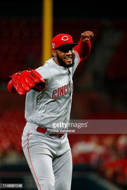 Amir Garrett of the Cincinnati Reds celebrates after recording the final out of the in the seventh inning at Busch Stadium on June 4, 2019 in St...